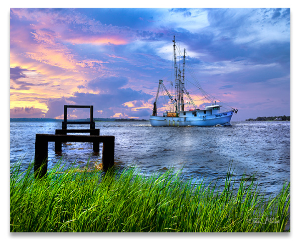Mystic Shrimp Boat On Cape Fear River by Joshua McClure