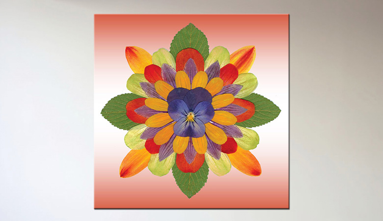 Colorful Flower Print on Canvas