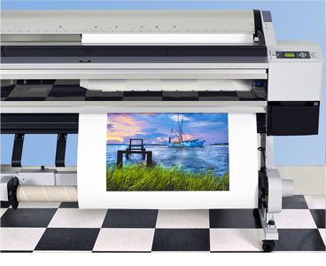 custom canvas prints exiting wide-format printer