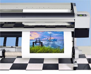 custom canvas prints exiting wide-format printer