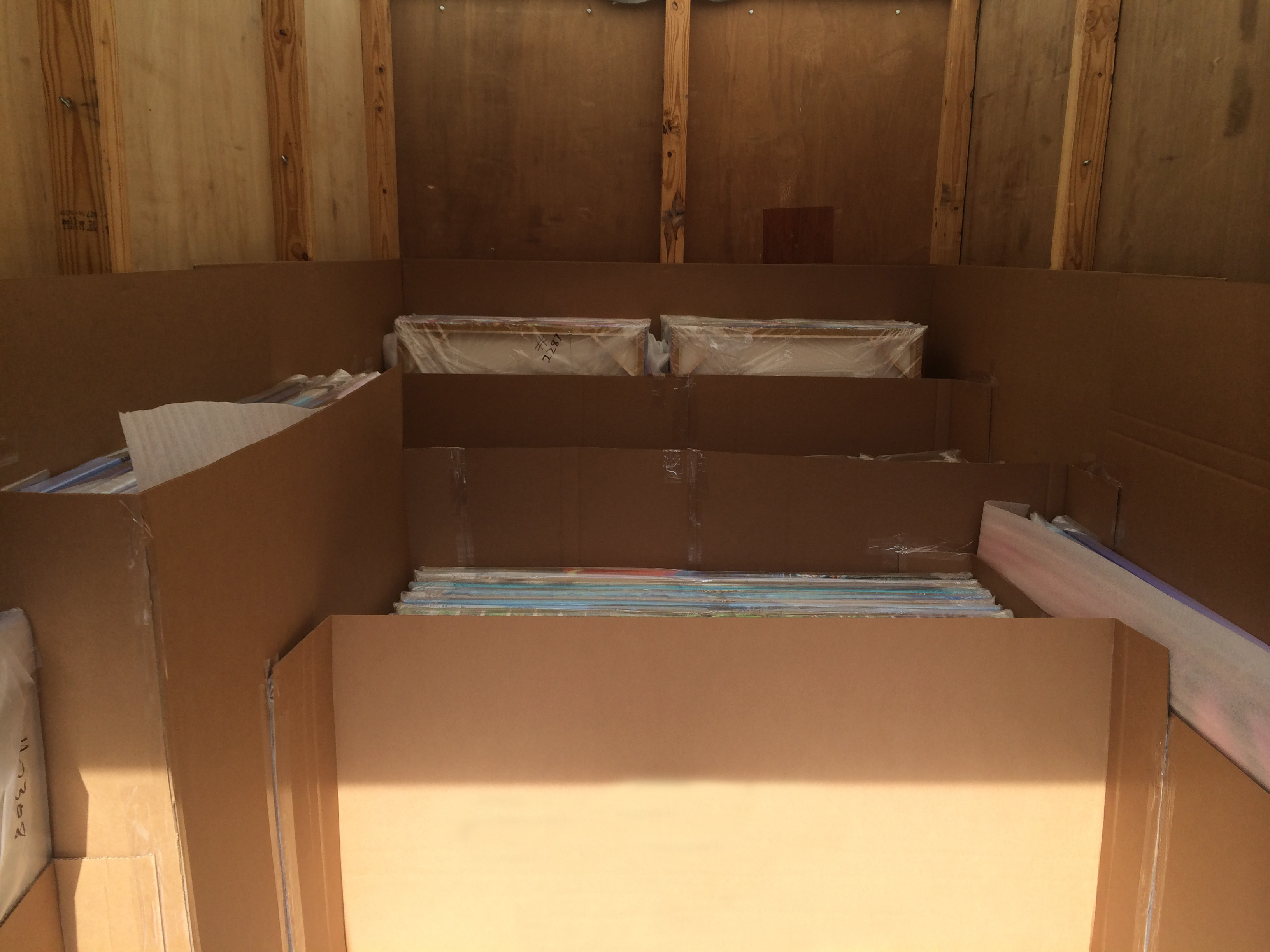 packing prints in shipping container
